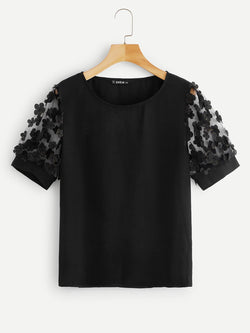 Plus 3D Applique Mesh Sleeve Top Black