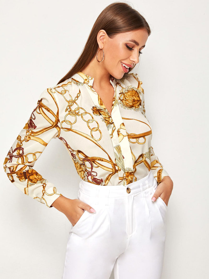 Chain Print Split Neck Shirt