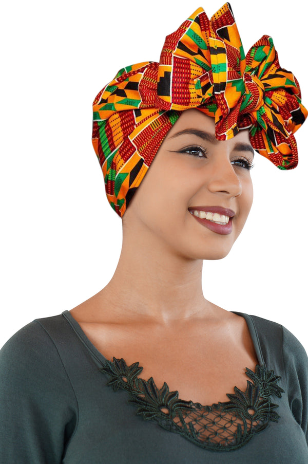"KENTE Cloth Extra Long 72""×22"" Headwrap ANKARA Dashiki African Print Wrap/Scarf for Women - Green, Black & Orange  Head"