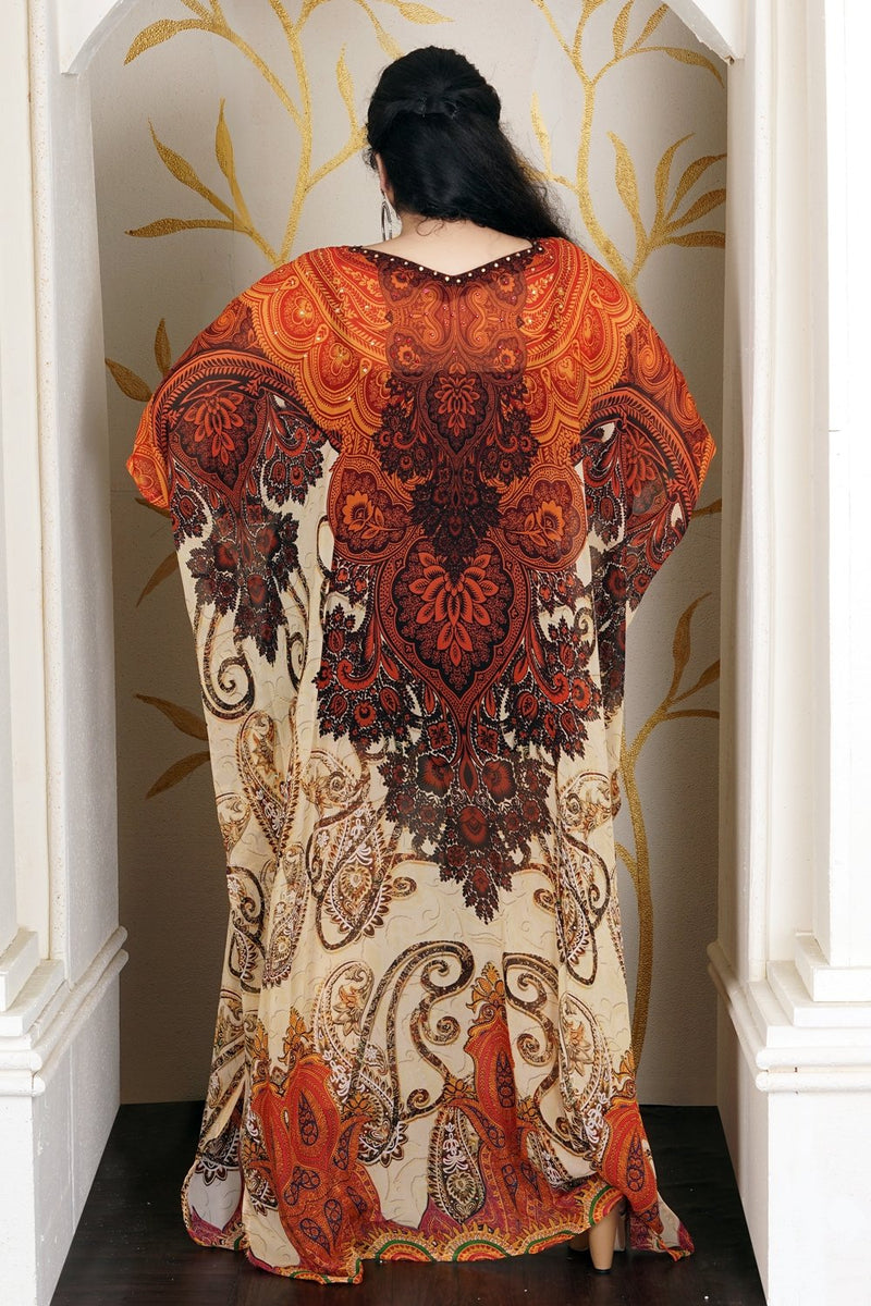 Light Embellished Maxi Long Kaftan With Soft Luxurious Feel a Perfect Summer Outfit