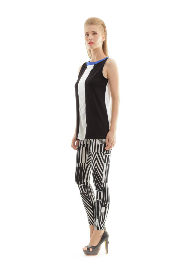 Silky Black and White Print Pants