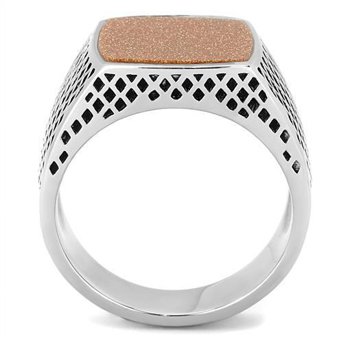 TK3228 High Polished (No Plating) Stainless Steel Ring With Semi-Precious in Siam
