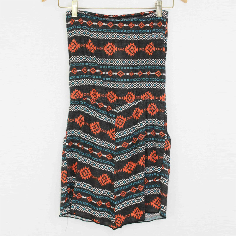 Tube Top Waist Tie Romper With Pockets Rust