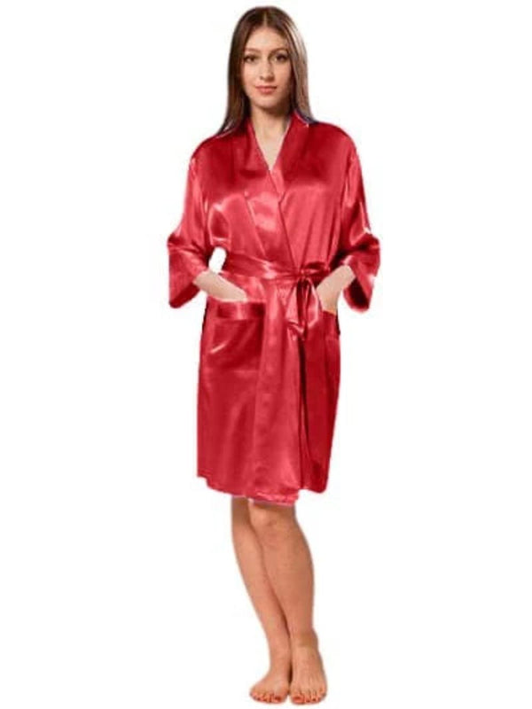 Florencia Love One Size Fits Most: Up to Size 20 Women's Crepe Satin Robe - Best Bridal or Valentine's Day Gift