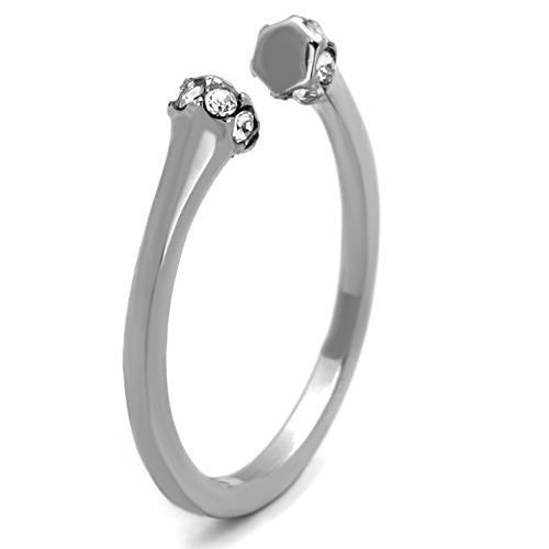 TK1580 High Polished (No Plating) Stainless Steel Ring With Top Grade Crystal in Clear