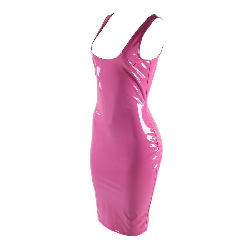 Pink Leather PU Dress