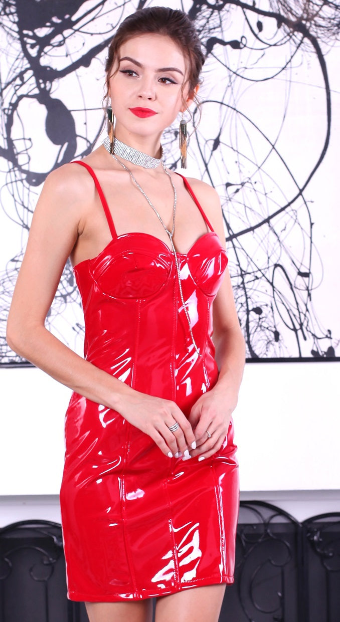Red Leather Party Dress