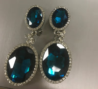 Blue drop clip on earrings