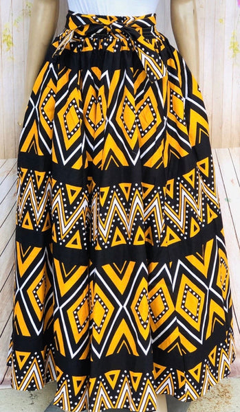 Yellow and black maxi skirt