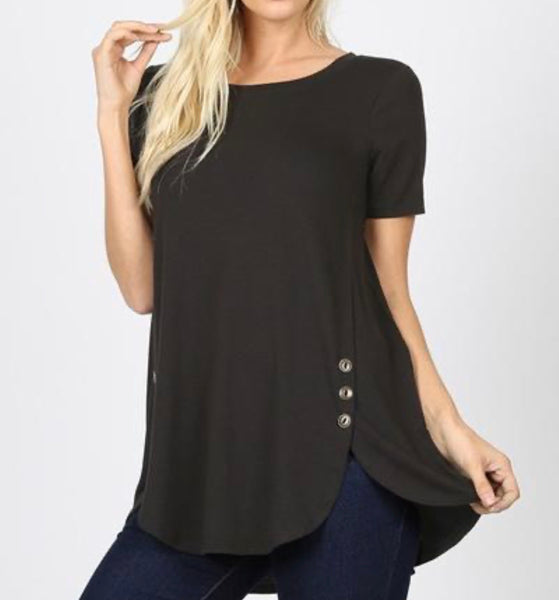 Black women's tee with button detail