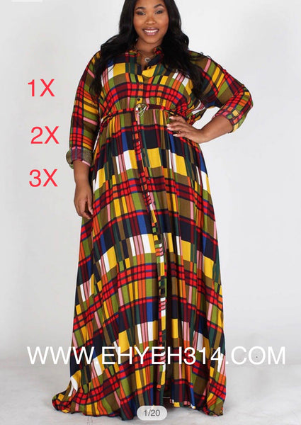 Plaid maxi dress Happy Size