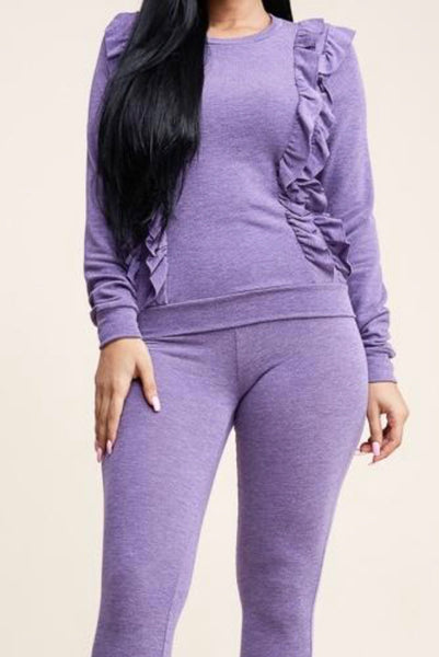 Purple ruffle casual pants set