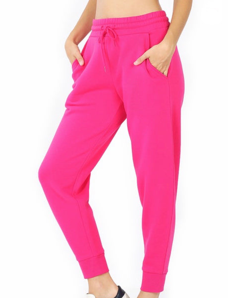 Hot pink sweatpants