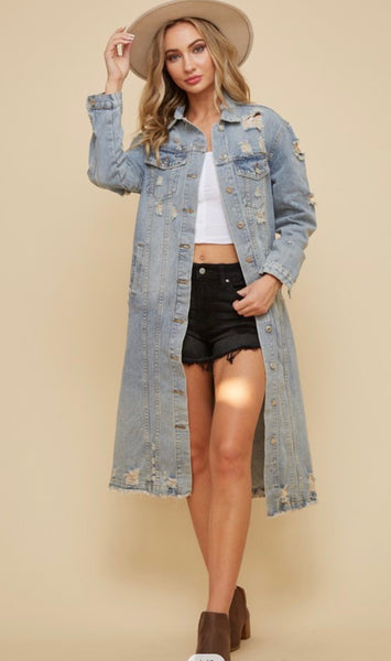 Long ripped denim jacket