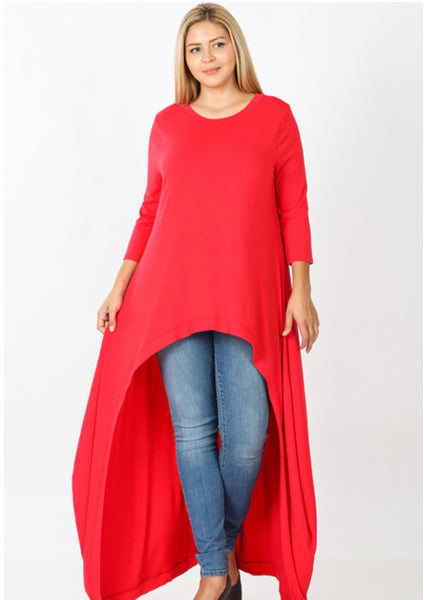 Happy Size - Ruby red high/low tunic