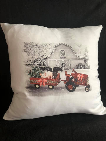 Farm Scene Christmas Pillow with Insert