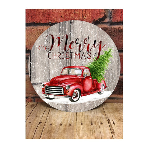 Merry Christmas Red Truck Door Hanger