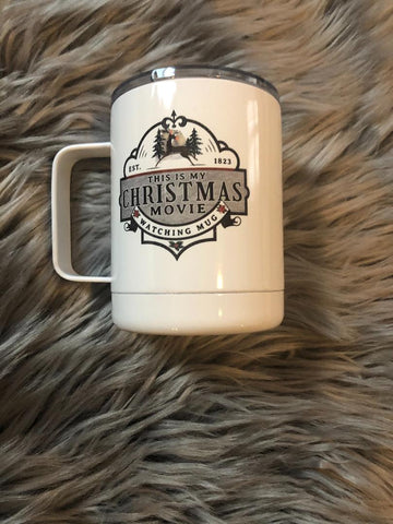 Christmas Movie Watching Mug With Lid - Stainless Steel - 12oz - Vintage - Cute - Nostalgic - Coffee - Tea