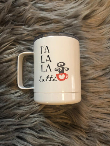 Fa La La La Latte Mug With Lid - Stainless Steel - 12oz - Vintage - Cute - Nostalgic - Coffee - Tea