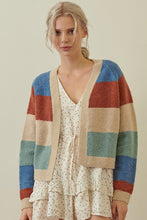 Load image into Gallery viewer, Storia Open Cardigan in Taupe Multi Stripe