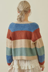 Storia Open Cardigan in Taupe Multi Stripe
