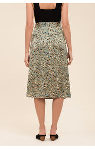 Moon River Ruched Midi Skirt W/Slit in Green Leopard