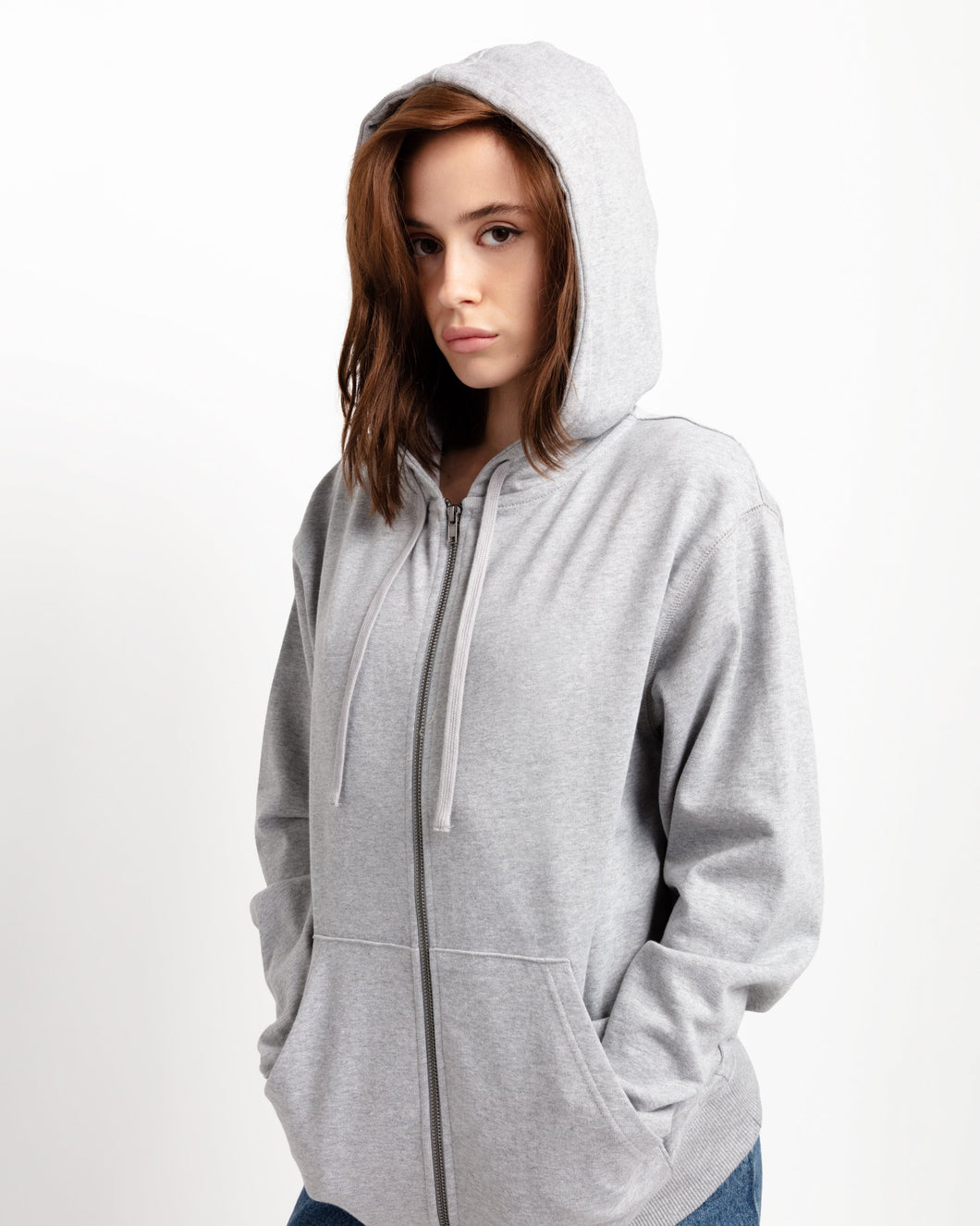 x karla The Zip Hoodie in Heather Grey