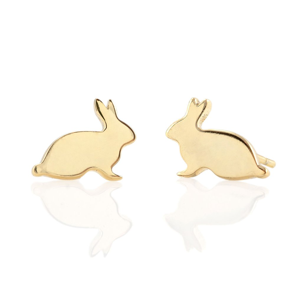 Kris Nations Bunny Stud Earrings in Gold Vermeil
