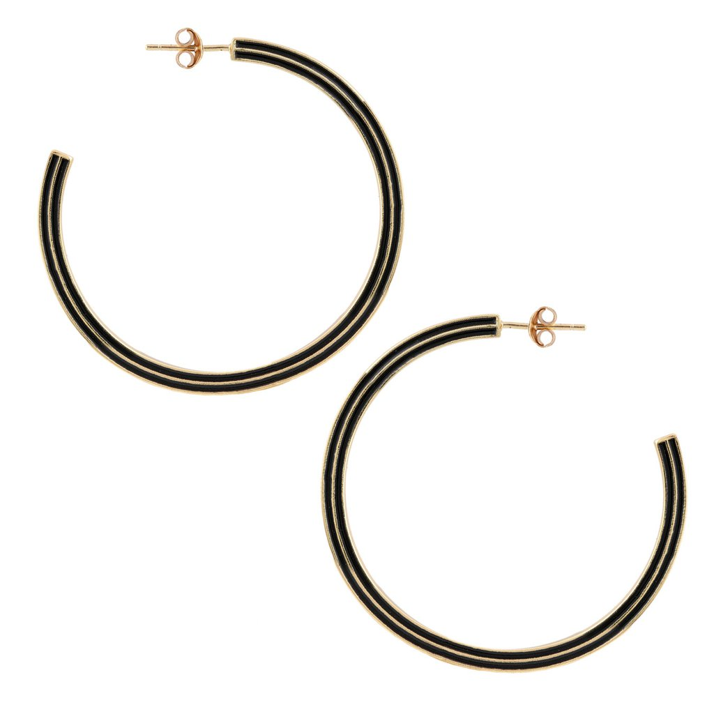 Kris Nations Gold Line Enamel Hoop Earrings in Black