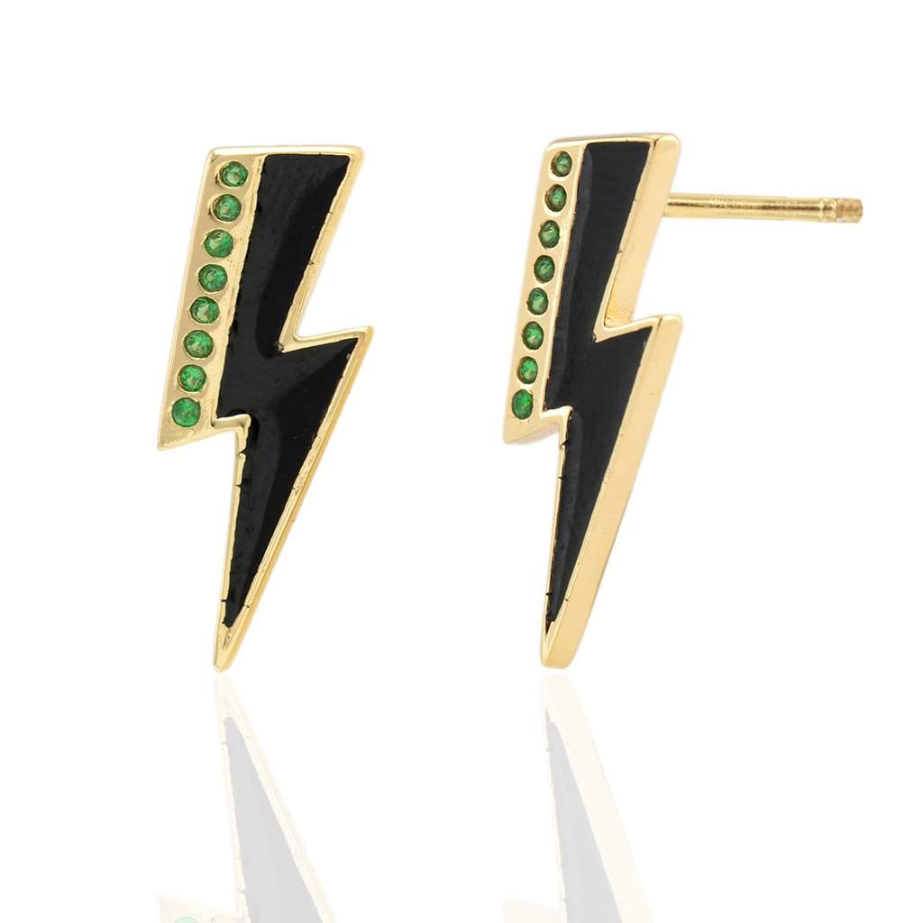 Kris Nations Oversized Lightning Bolt Stud Earrings w/Enamel and Pave