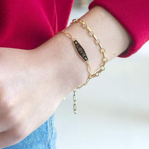Kris Nations Double Rolo Chain Bracelet - Gold Filled
