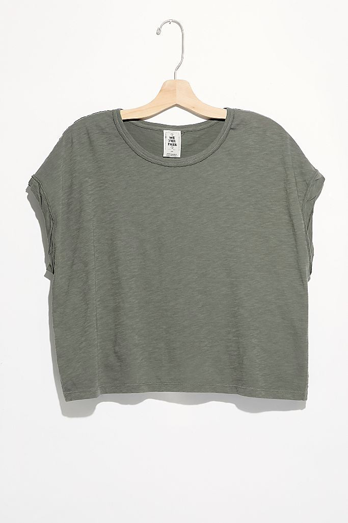 Free People You Rock Tee in Washed Army
