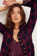 Load image into Gallery viewer, Free People Odessa Duster in Maroon Combo