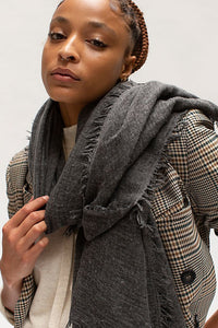 Free People Sun Washed Travel Scarf in Washed Black