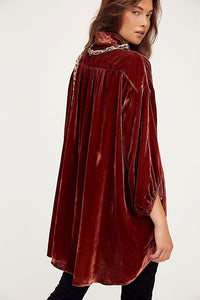 Free People Lux Velvet Shirt Dress in Fairytail