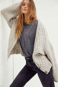 Free People Molly Cable Cardi in Heather Grey
