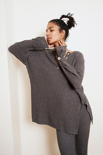 Free People Around The Clock Pullover in Charcoal