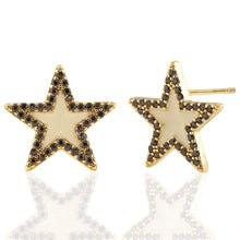 Load image into Gallery viewer, Kris Nations Oversized Star Stud Earrings w/Enamel and Pave