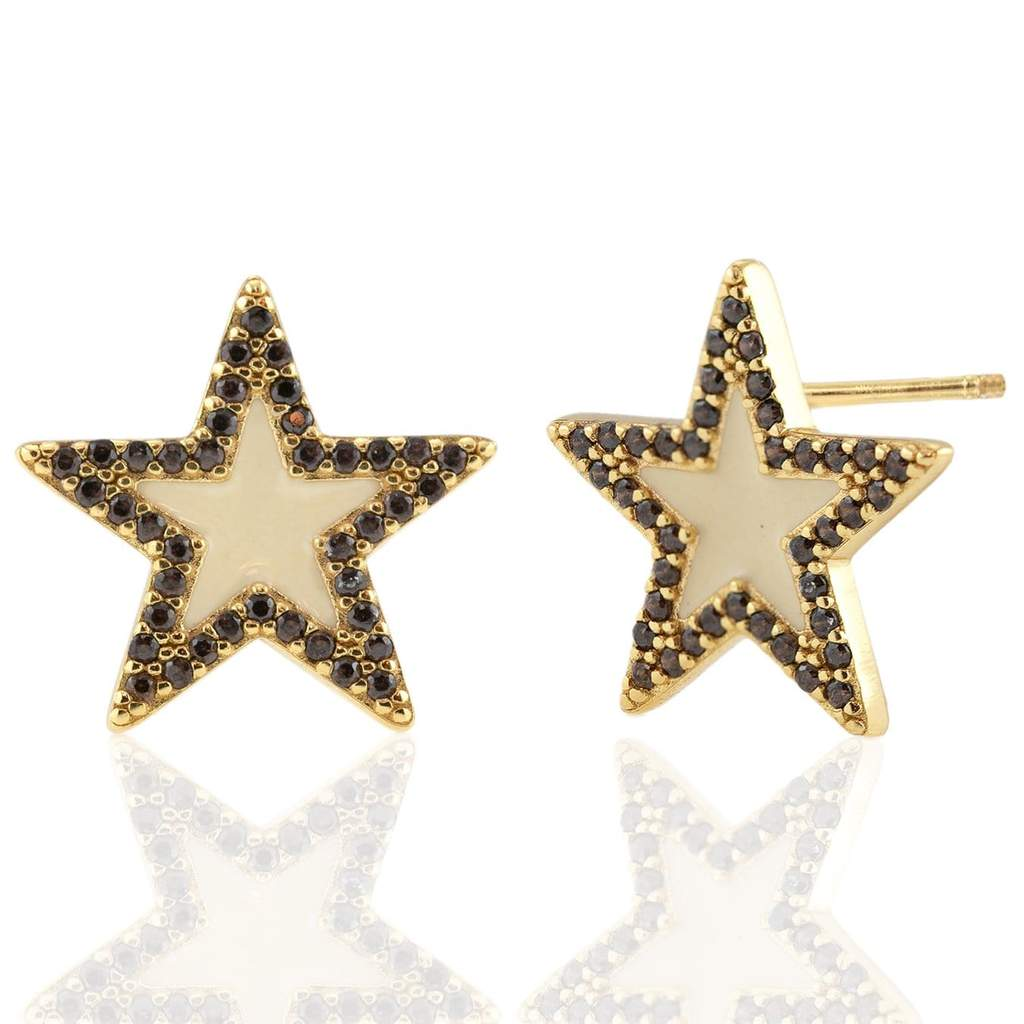 Kris Nations Oversized Star Stud Earrings w/Enamel and Pave