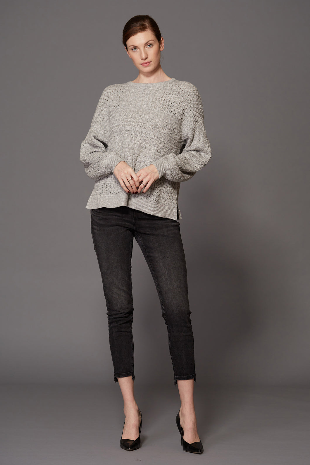 SWTR Square Cable Sweater in Elephant