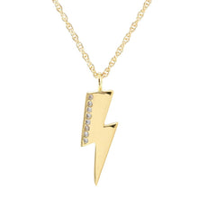 Load image into Gallery viewer, Kris Nations Medium Lightning Bolt Charm Necklace w/Pave