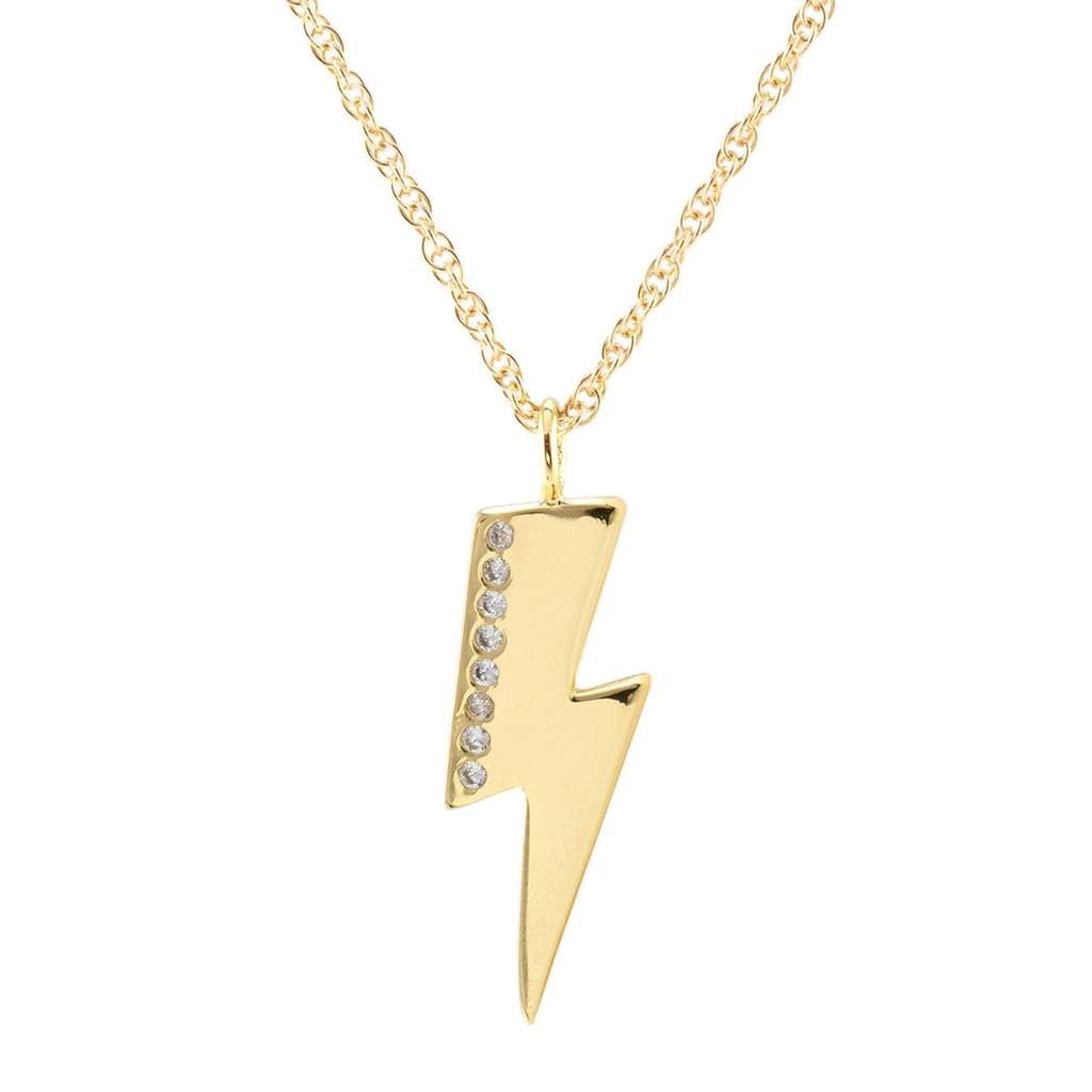 Kris Nations Medium Lightning Bolt Charm Necklace w/Pave