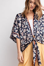 Load image into Gallery viewer, Easel Pj Silk Satin Tie Front Kimono