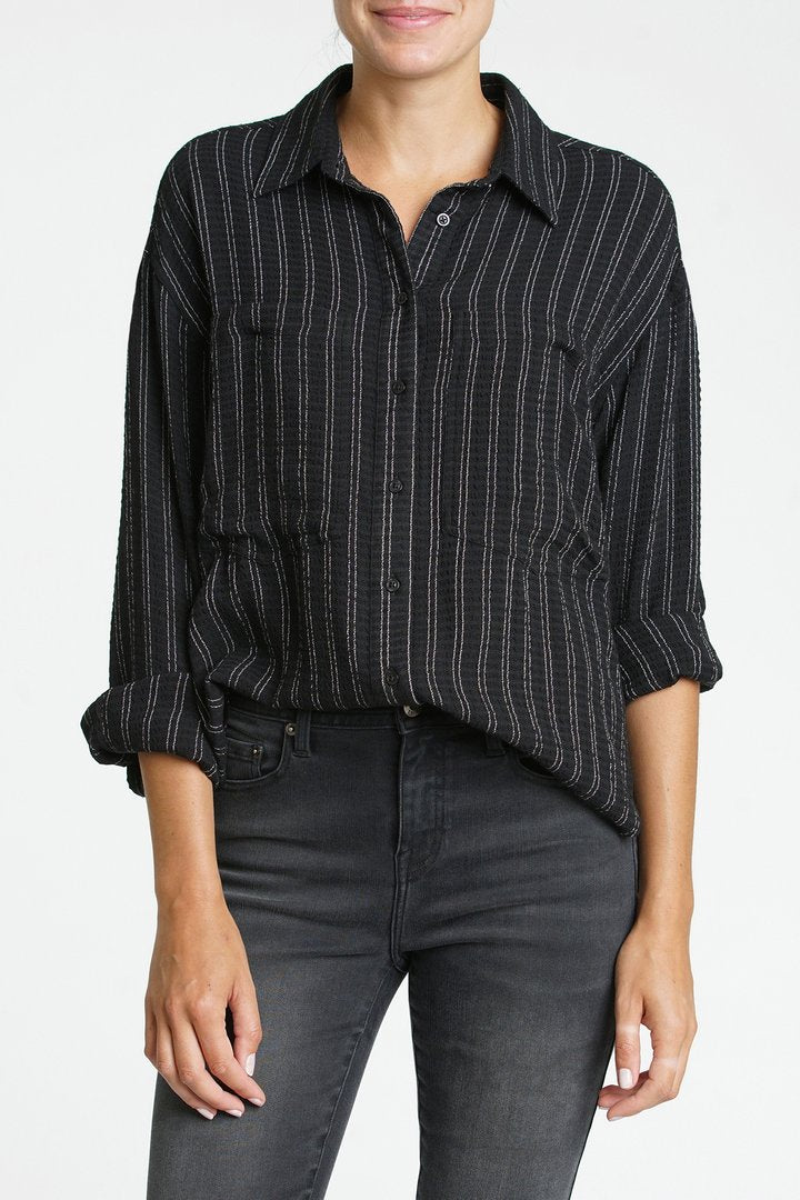 Pistola Carissa Oversized Pocket Dolman Shirt in Full Moon Stripe