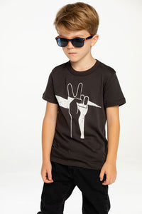 Chaser Kids Peace Bolt Jersey S/S Tee in Vintage Black