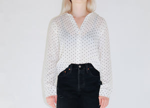 Gauze Woven Top in White with Polka Dots