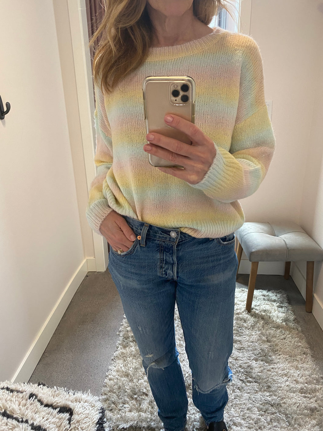 Rainbow Pastel Crew Neck Sweater