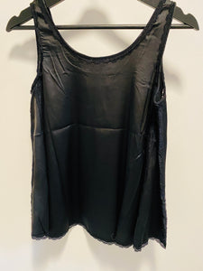 POL Satin Sleeveless Top w/Lace Detail in Black