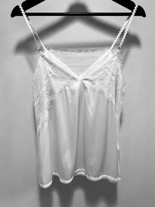 POL Satin Camisole w/Fringe Hem Detail in Off White