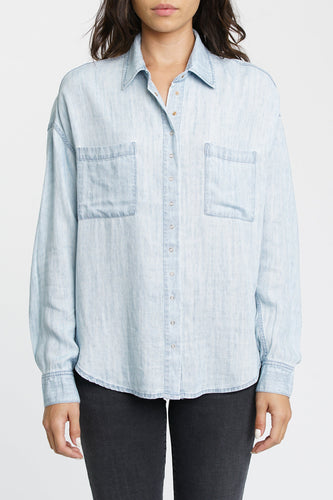 Pistola Ali L/S Oversized Button Front Shirt in Blue Jay